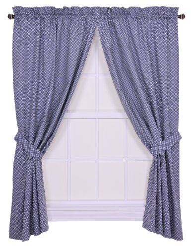 Tyvek Small Scale Diamond 68 by 63-Inch Tailored Panel Pair Curtains with Tiebacks, Blue ()