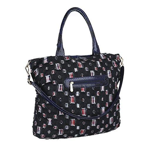 iTal-dEsiGn Damentasche Große Shopper Schultertasche Tragetasche Textil TA-A109 Blau Schwarz V5eU7