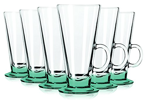 Libbey Aqua Irish Coffee Mug/Dessert Glasses with Colored Accent - 8.5 oz. Set of 6- Additional Vibrant Colors Available by TableTop King