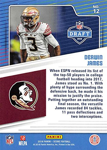 Amazon.com  2018 Score NFL Draft  12 Derwin James Florida State Seminoles  Football Card  Collectibles   Fine Art ed1cad9f9