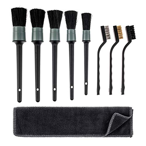 Smaiemeinu Detailing Brush Set - Including Natural Boar Hair Detail Brush, Steel Wire Brush , - Free Microfiber Towel - for Cleaning Engine, Wheel, Interior,Air Vent, Car, Motorcycle,(Plastic Handle