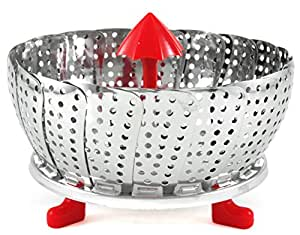 RSVP Endurance Stainless Steel Vegetable Steamer with Red Silicone Accents, 9 Inch