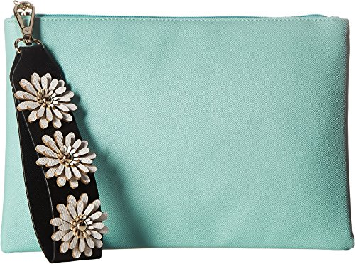 Jessica McClintock Women's Gigi Flower Applique Pouch Clutch Teal Clutch