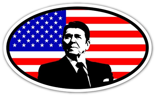 - President Ronald Reagan on US Flag Vinyl Euro Decal Bumper Sticker 3
