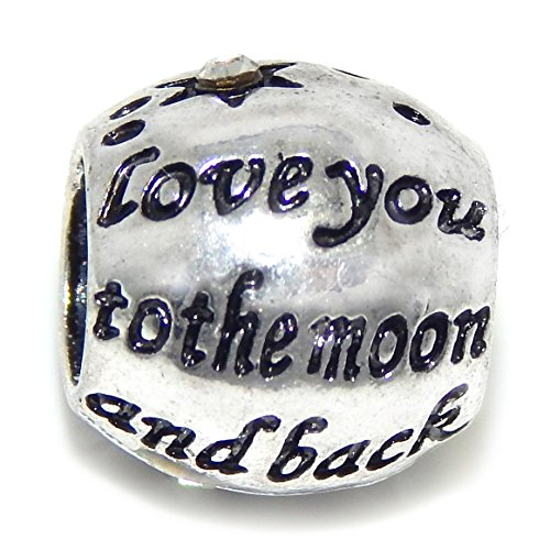 """Pro Jewelry """"Love You to the Moon and Back w/ White Crystal Star"""" Charm Bead for Charm Bracelet"""