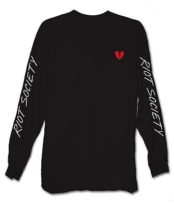 b431e278 Riot Society Men's Broken Heart Embroidery Long Sleeve Logo T-Shirt -  Black, Small