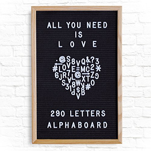 Alphaboard Changeable Felt Letter Board: Handmade 12 x 18 Premium Oak Wood Frame with 290 White 3/4 Letters, Numbers,  Punctuation, Mounting Wall …