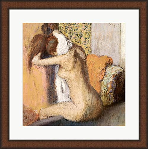 - After The Bath by Edgar Degas Framed Art Print Wall Picture, Brown Teak Frame, 20 x 20 inches