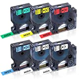Refill Replace DYMO D1 Label Tapes 45010 45013 45016 45017 45018 45019, for DYMO LabelManager 160 280 420P PnP 220P 360D 450 210D (1/2 inch x 23 Feet 12mm x 7m), 6-Pack