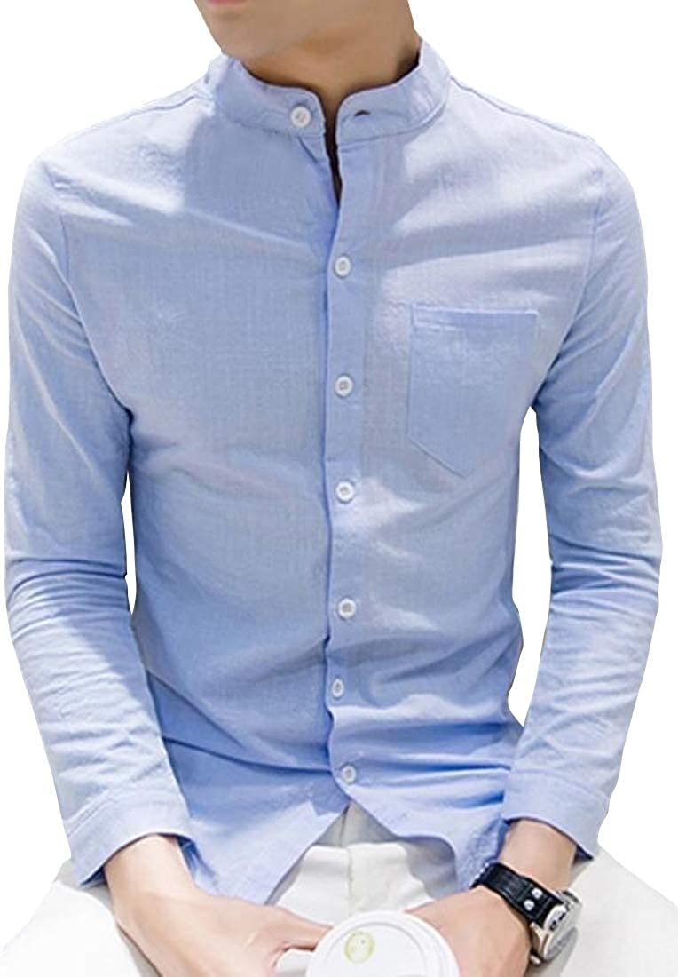 Fubotevic Mens Cotton Washed Long Sleeve Turn Down Collar Solid Button Down Shirts