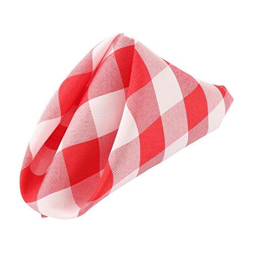 E-TEX Cloth Check Napkins - 15 x 15 Inch Red & White checkered Washable Polyester Dinner Napkins - Set of 12 Napkins -