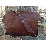 Leather Bags Now Unisex Cross Shoulder Full Flap Laptop Leather Messenger Bag Satchel Dark Brown