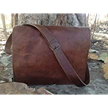 Leather Bags Now Unisex Cross Shoulder Full Flap Laptop Leather Messenger Bag Satchel Dark Brown