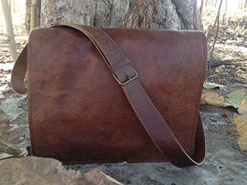 United Leather Bags Full Flap Laptop Leather Messenger Bag Satchel Shoulder Dark Brown Briefcase Office Crossbody Bag For Men