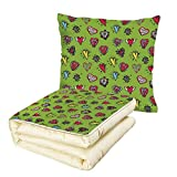 iPrint Quilt Dual-Use Pillow Doodle Hand Drawn Set of Hearts Sketch with Various Shapes and Sizes Love Affection Multifunctional Air-Conditioning Quilt Avocado Green Red