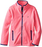 Nautica Big Girls' Polar Fleece Front Zip Jacket, Pink, 8