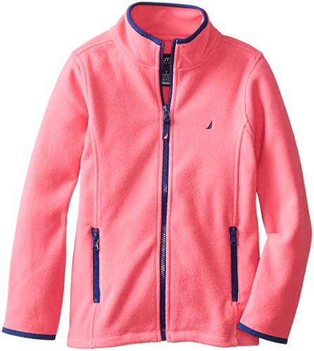 Nautica Big Girls' Polar Fleece Front Zip Jacket, Pink, -