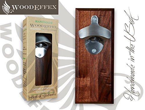 Bottle Opener Magnetic Cap Catcher - Handmade Walnut Wood with Brushed Nickel Opener - No Personalization - Brushed Nickel Can Opener