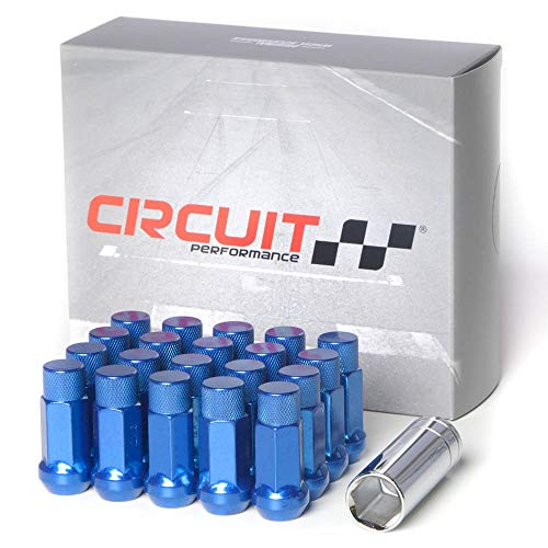 Extended Performance Set - Circuit Performance Forged Steel Extended Hex Lug Nut for Aftermarket Wheels: 12x1.25 Blue - 20 Piece Set + Tool