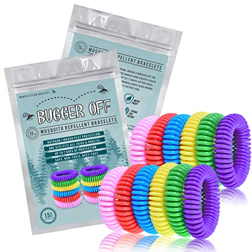 Bugger Off - 12 Pack Mosquito Repellent Bracelet - No Spray Lasting Protection 300 Hrs - 100% All Natural Non-Toxic Oils Made from Plants - Indoor/Outdoor Use - Best Repeller for Men, Women, Kids