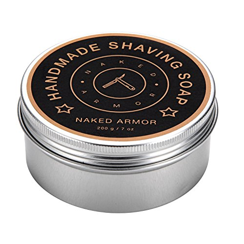Handmade Natural Organic Shaving Soap - Large Tin 7oz, Creates Rich Creamy Lather. Made With Olive Oil, Coconut Oil, Palm Oil, Shea Butter, Beeswax for Dry Sensitive Skin. Mens Shave Soap Hydrates