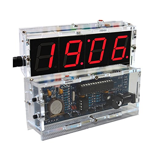 KKmoon 4-digit DIY Digital LED Clock Kit Light Control Temperature Display Transparent Case Red (Red)
