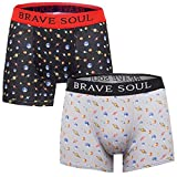 Brave Soul Mens Jude Planet Burger 2 Pack Boxer Shorts Planet Black/Grey - Small