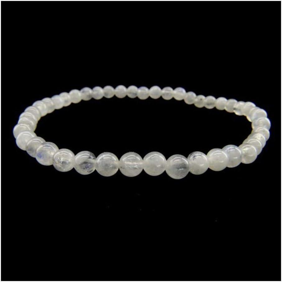 Pulsera de Piedra Luna Bola Lisa 4mm Minerales y Cristales, Belleza energética, Meditacion, Amuletos Espirituales