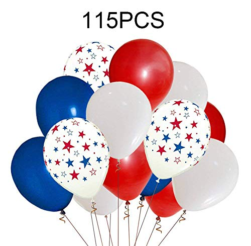 Moon Boat Patriotic Decorations Star Latex Balloons - Red Blue White - Fourth of July Party -
