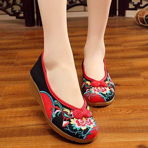 HhGold Bestickte Bestickte Bestickte Schuhe Sehnensohle Ethno-Stil weibliche Stoffschuhe Mode bequem Tanzschuhe schwarz 41 (Farbe   - Größe   -) 62cbf1