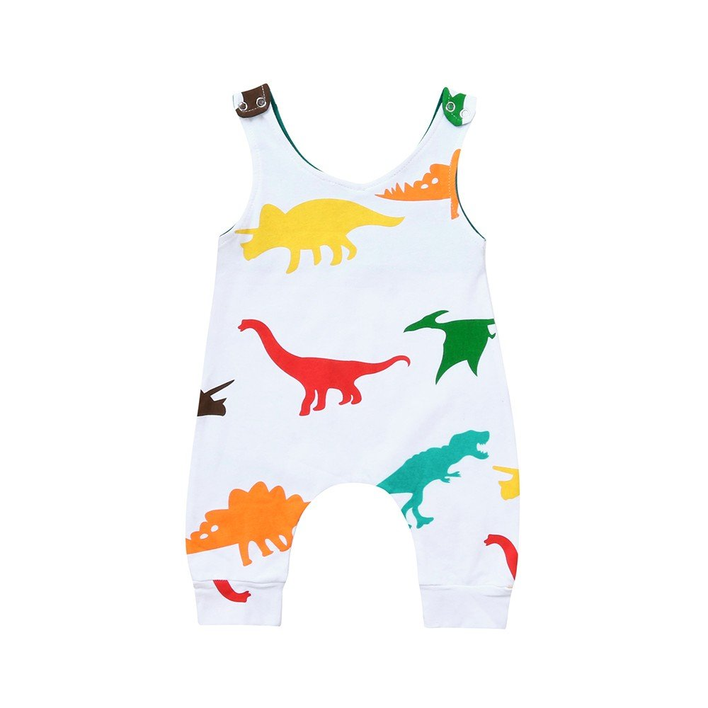 oldeagle Toddler Baby Boys Sleeveless Dinosaur Print Romper Jumpsuit Bodysuit Playsuit Outfits Summer Clothes (White, 12M) by oldeagle (Image #1)