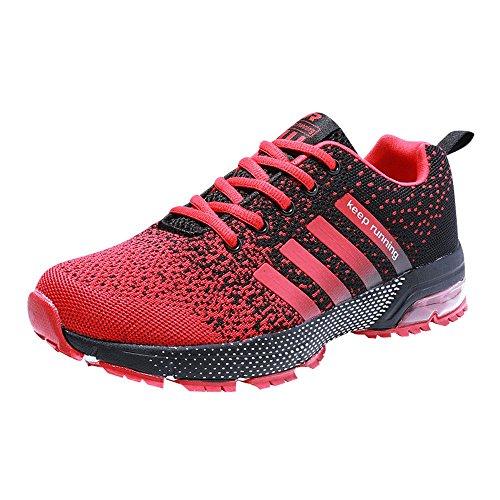 Pamray Chaussures De Course Femmes Hommes Garder Sport Fitness Air Seul Bas Sneaker Haut Maille 36-47 Noir Blanc Rouge Bleu (mod