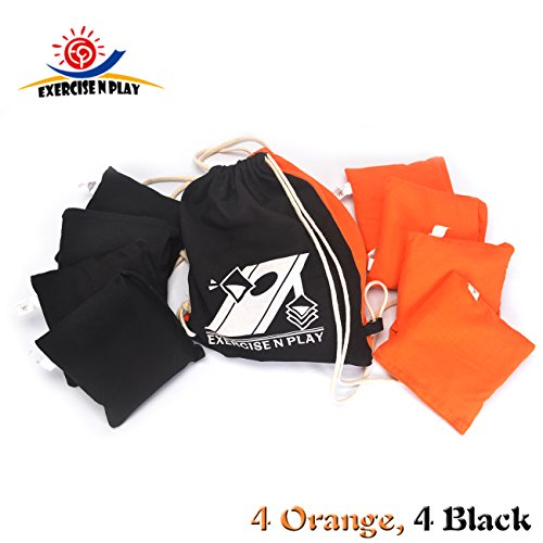 Tailgate Toss Bean Bag (Premium Weather Resistant Official Size ACA Regulation Duck Cloth Cornhole Bags(set of 8) for Cornhole Bean Bags Toss Game,Black & Orange,Includes Shoulder Bag)