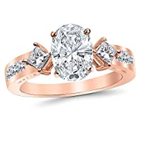 3.75 Ctw 14K White Gold Channel Set 3 Three Stone Princess Oval Cut GIA Certified Diamond Engagement Ring (3 Ct H Color SI1 Clarity Center Stone)