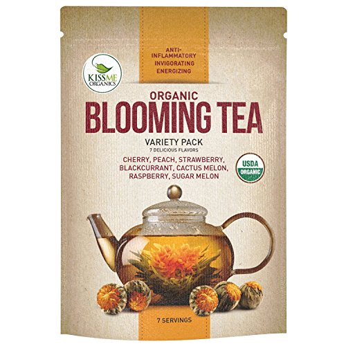 Blooming Tea - 7 Organic All Natural Flavors of Flowering Tea - 100% Organic Calendula Flowers and Green Tea Leaves in Hand Sewn Blooming Tea Balls from Kiss Me Organics - 7 Blooms - 1 of Each Flavor (Blooming Flowering)