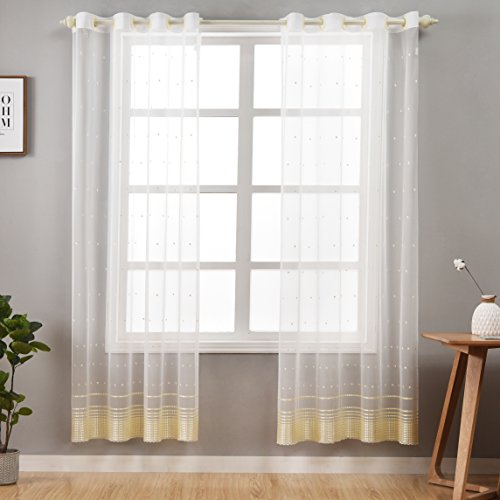 Teng & Co. Embroidered White Sheer Curtains for Bedroom and Living Room 52 x 84 inch Grommet Voile Curtain Panels Set of 2