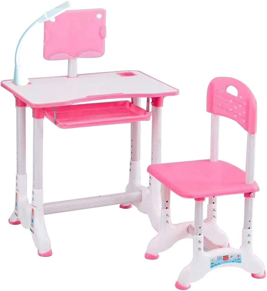 Tantisy⭐ Children Desk, Children Study Table, Height Adjustable Kids Desk and Chair Set, Childs Desk W/Lamp, with Students Writing Desk Tilt Desktop Storage Drawer Bookstand for Boys & Girls (Pink3)