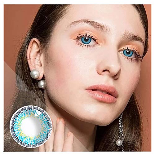 HXS Contacts_Colored for Eyes Women's Makeup Accessories Special Gifts for Girls Women,Decorations for Party Cosplay and Daily Use (1pair,Blue)