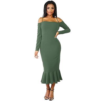 Womens Dresses,Moonuy Girl Slash Neck Ruffle Long Sleeve Evening Party Beach Dress For Ladies
