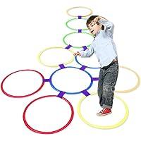Jeu pour enfant Hopscotch, jeu de 10 cerceaux en plastique multicolore et 10 connecteurs pour intérieur et extérieur, jeu de saut, pour filles et garçons