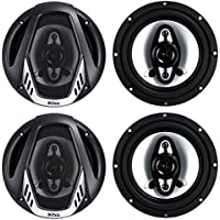 4) NEW BOSS NX654 6.5 800W 4-Way Car Audio Coaxial Speakers Stereo Black 4 Ohm