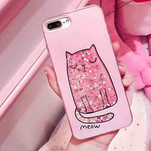 Fashion Cute Drink Bottle Ice Cream Glitter Star Dynamic Liquid Quicksand Phone Case for iPhone 5 5S 5SE 6 6S 7 8 Plus X Cases Cat for iPhone X