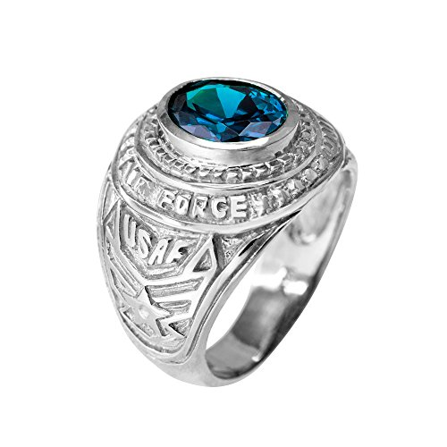 - December CZ Birthstone US Air Force Men's Ring in Solid 925 Sterling Silver (Size 9.5)