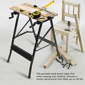 Mesa de Trabajo Plegable de Carpintería Resistente Acero + Madera ...