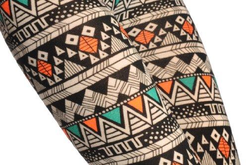 Woven Black, Green & Orange Aztec - Multicolore Leggings Taille Unique (32-38)