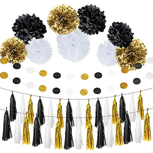 Black and White Gold Tissue Paper Hanging Decorations Kit wi