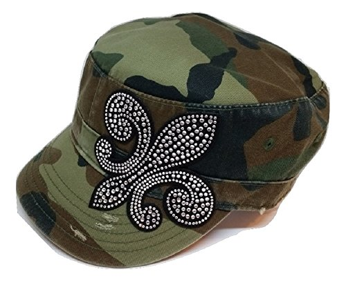 (Olive & Pique Crystal Rhinestone Fleur De Lis Distressed Military Cadet Cap (One Size,)