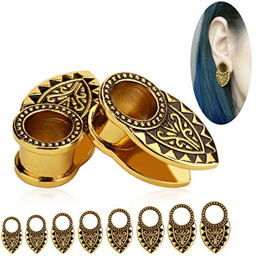 TBOSEN Gold & Black Tribal Ear Tunnels Aztec Plugs, used for sale  Delivered anywhere in USA