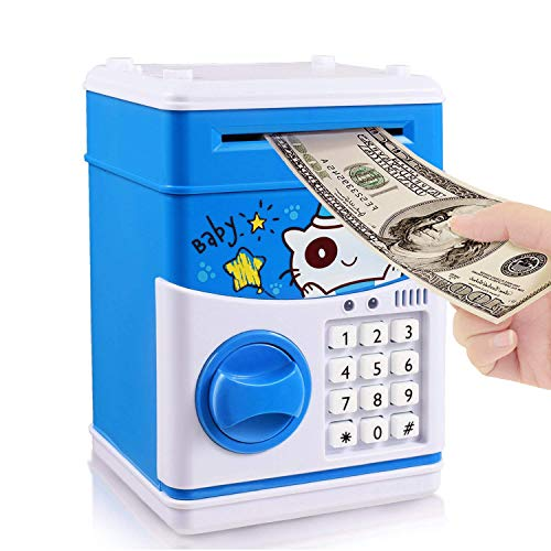 CestMall Cartoon Piggy Bank Money Bank Password ATM Electronic Save Money Cash Coin Can Box for Children Kids, Gift Toy with 11 Child - Mouth Money Box