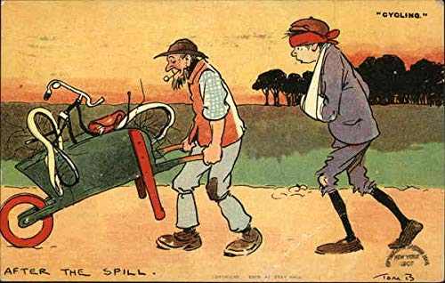 Two Men Walking with Wheelbarrow Carrying Bent Up Bicycle Comic Funny Original Vintage Postcard